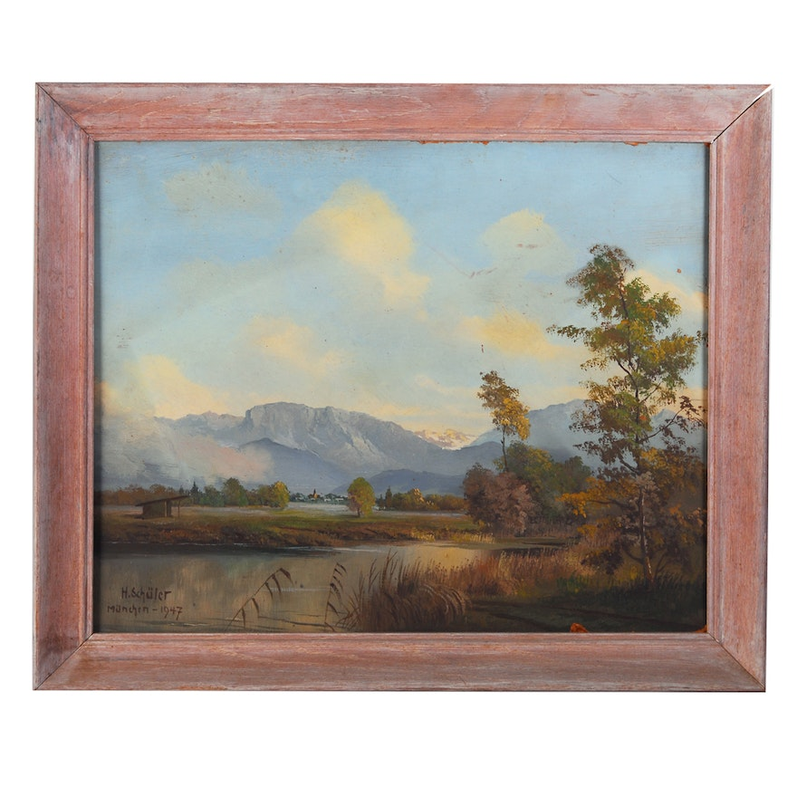 Hans Schuler Landscape Oil on Board Painting