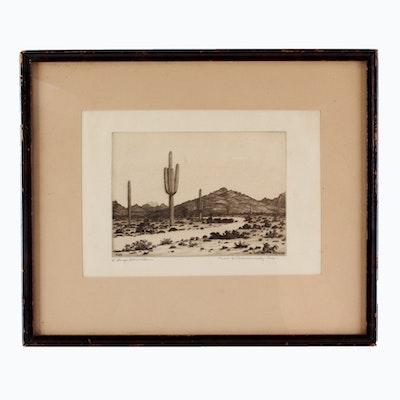 "George Elbert Burr Etching ""Road to Paradise Valley"""
