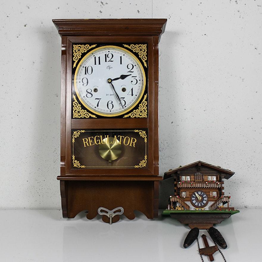 Elgin Regulator Wall Clock And Swiss Cuckoo Clock Ebth