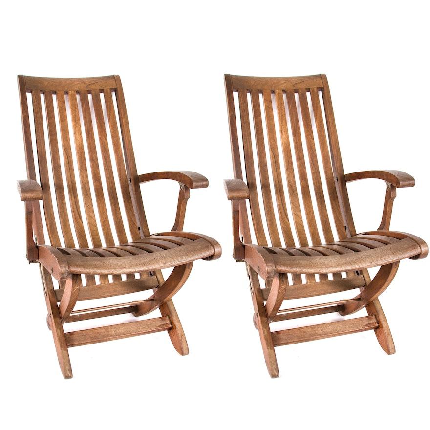 Pair Folding Teak Lounge Chairs Ebth