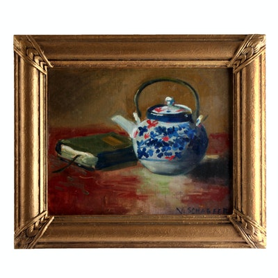 V. Schaefer Signed Still Life Oil Painting