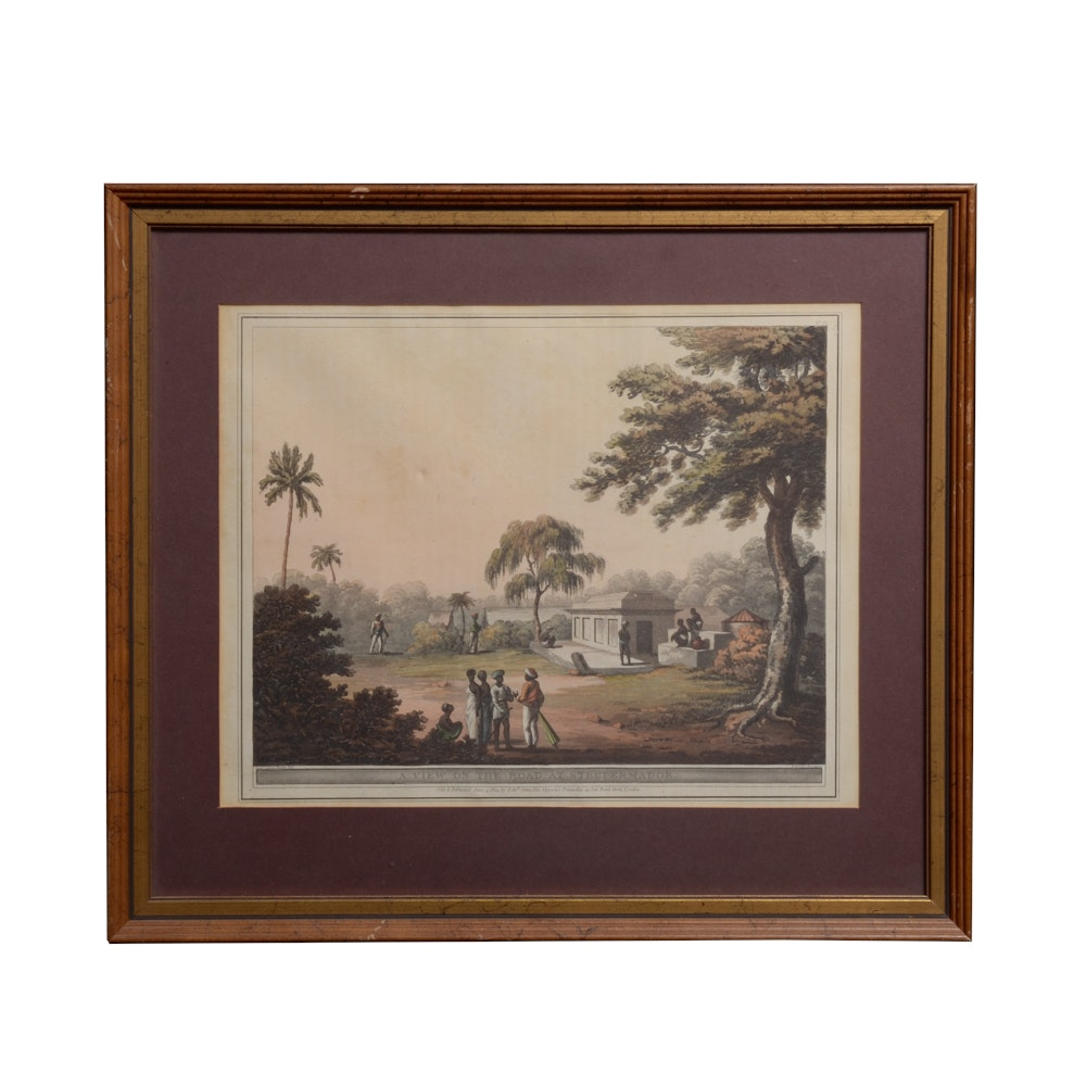 "James Hunter 19th Century Aquatint, ""A View on the Road at Strupermador"""