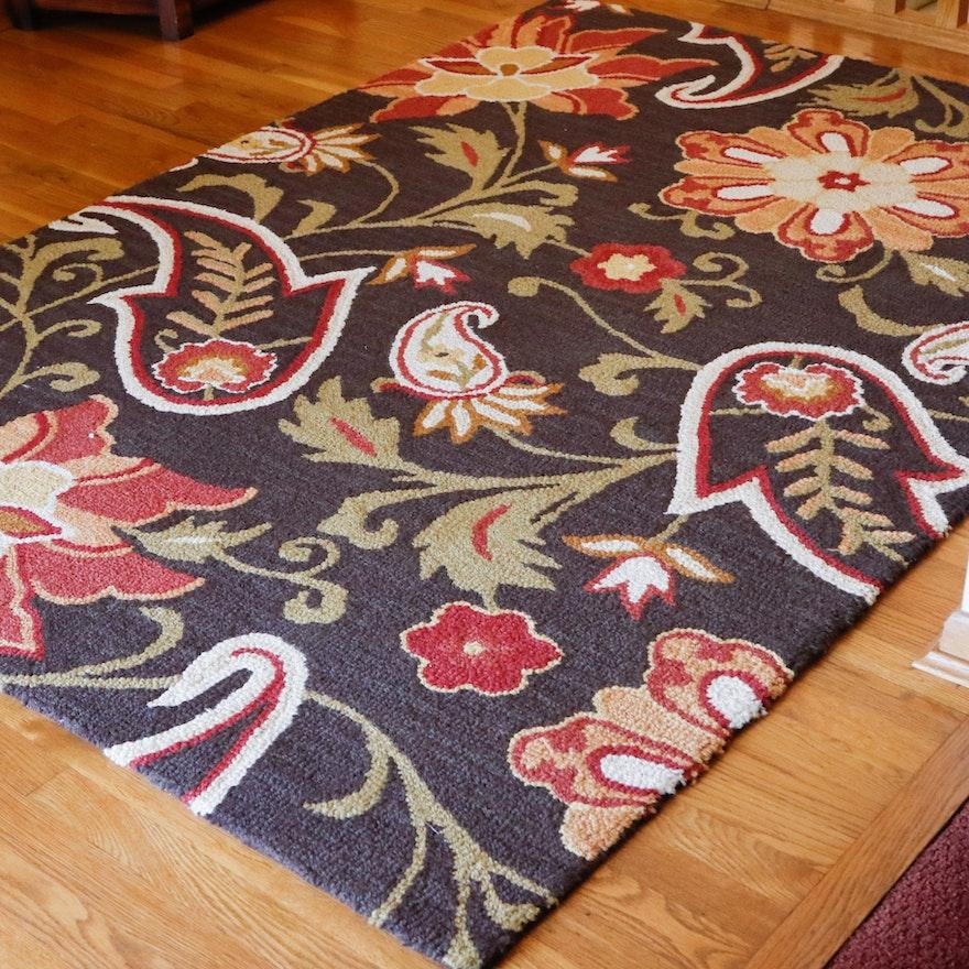Fieldcrest Luxury Quot Jacobean Floral Quot Brown Wool Area Rug Ebth