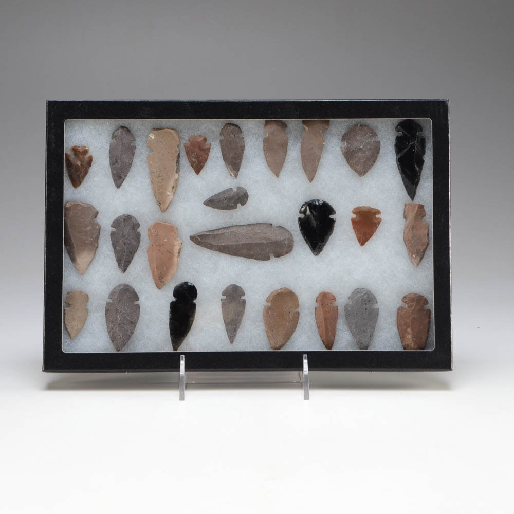 Collection of Twenty-five Various Arrowheads