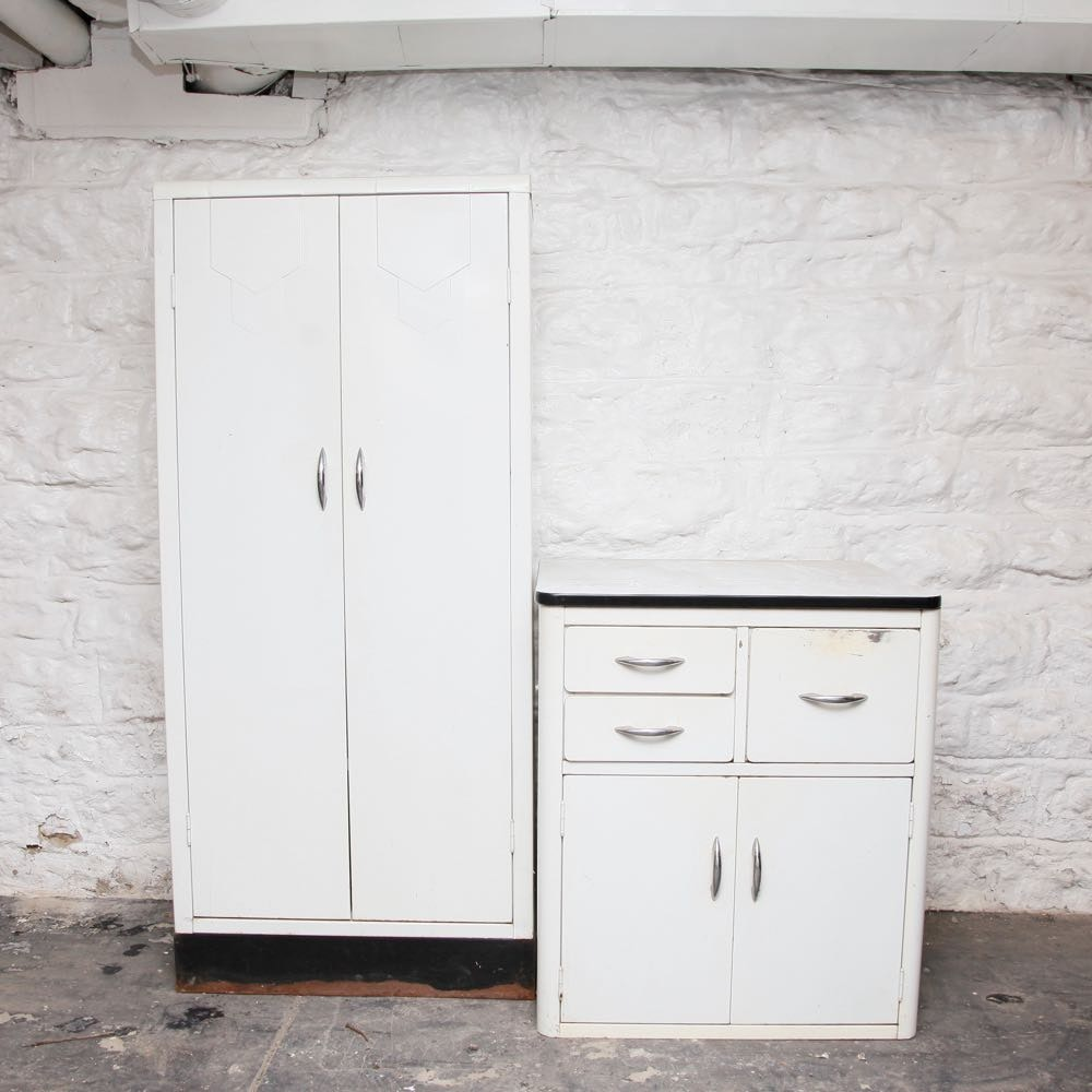 Vintage White Metal Cabinets | EBTH