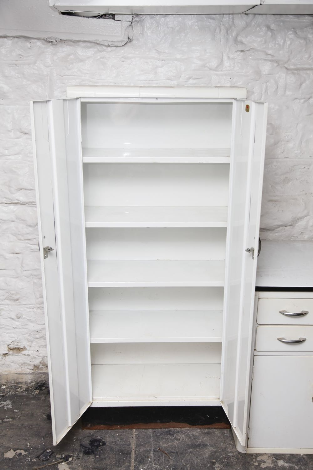 Vintage White Metal Cabinets Ebth