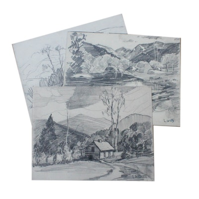 Collection of Charcoal Sketches by Listed Indiana Artist Louis William Bonsib