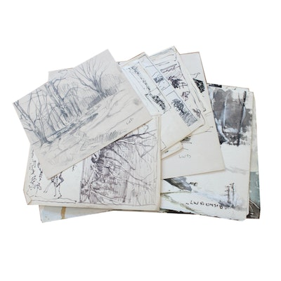 Collection of Sketches and Watercolors by Listed Indiana Artist L.W. Bonsib