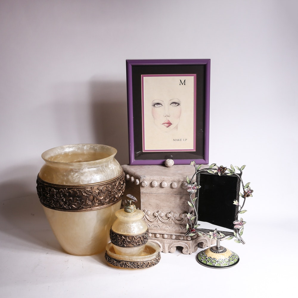 Collection Of Decorative Items And Bathroom Accessories ...