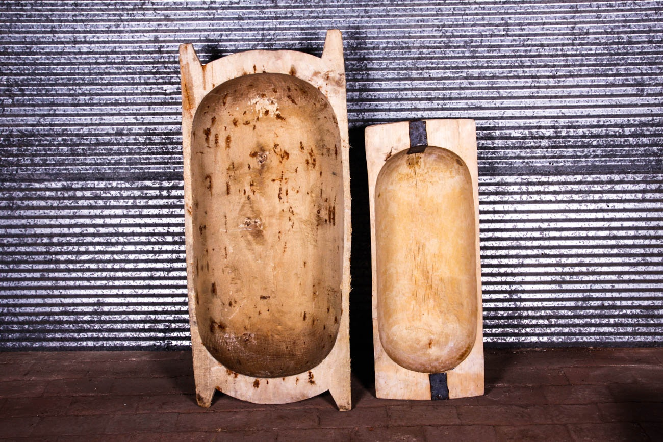 Pair of Primitive Dough Bowls