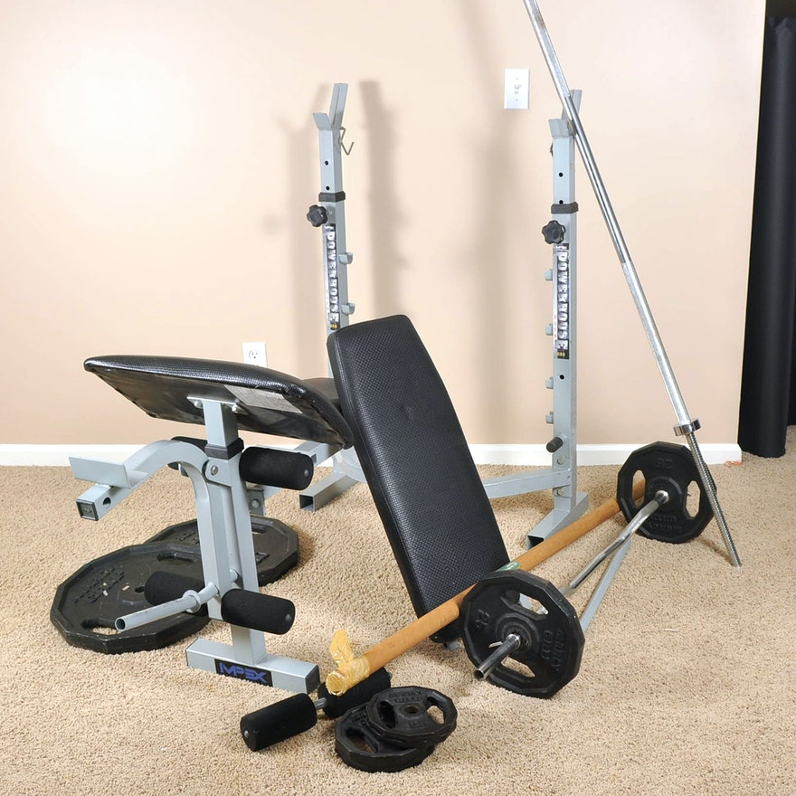 Free Weights Bench: IMPEX Powerhouse Club Weight Bench And Free Weights