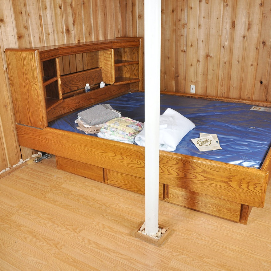 Captain S Queen Waterbed And Oak Bed Frame Ebth