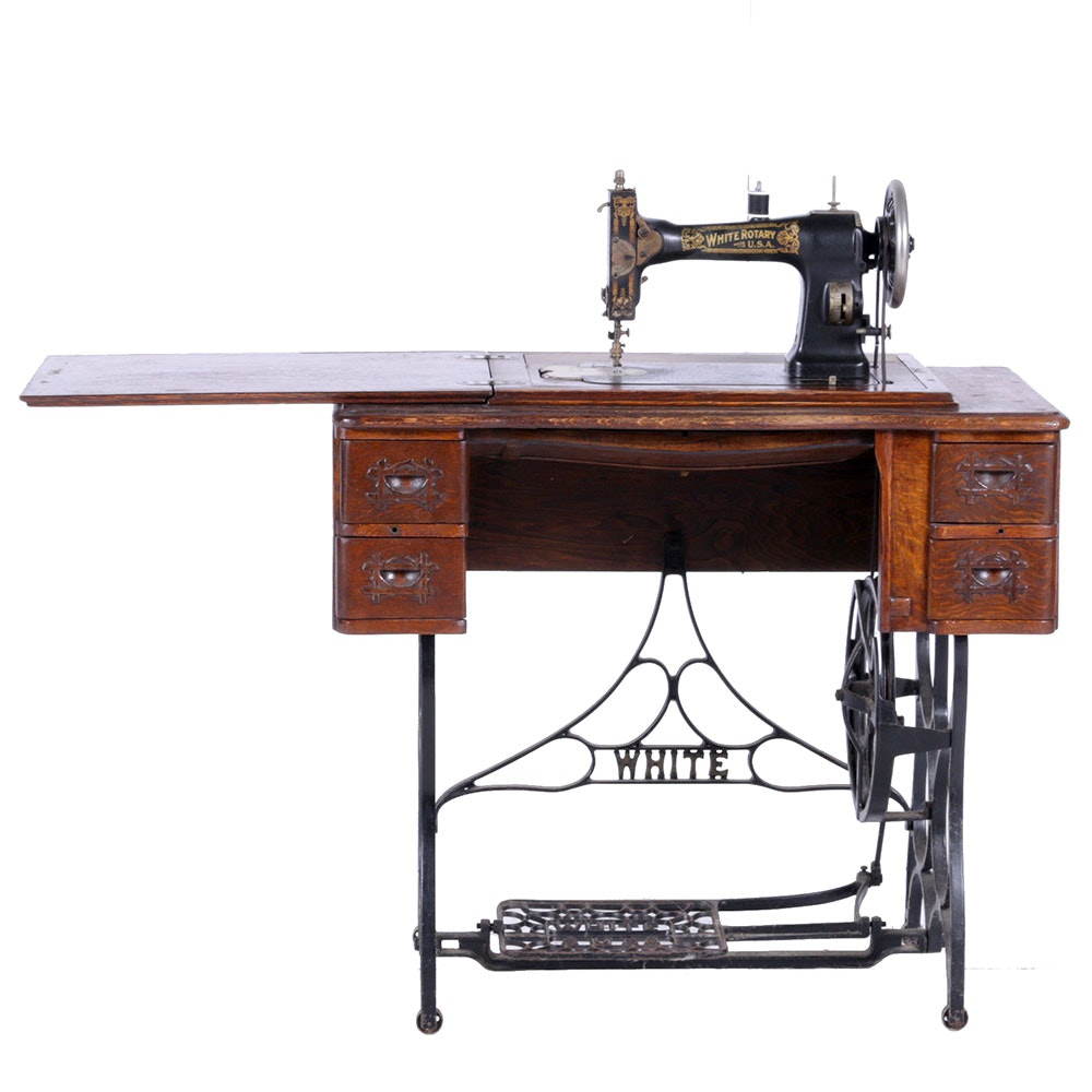 white sewing machine table antique