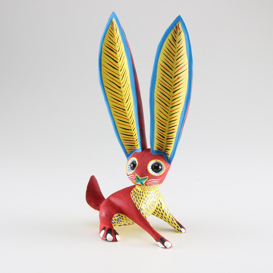 Signed Oaxacan Artisan Carved And Hand Painted Rabbit