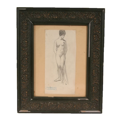 Pencil Sketch Attributed to Listed Indiana Artist L.O. Griffith