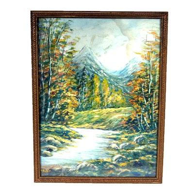 Signed, Original Landscape Gouache Painting by W. Eyden