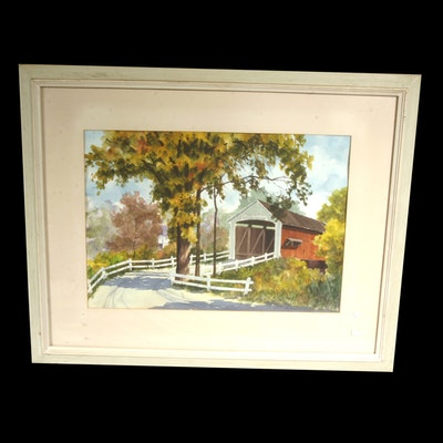Signed, Original Erhard Ericson Watercolor Landscape with a Covered Bridge