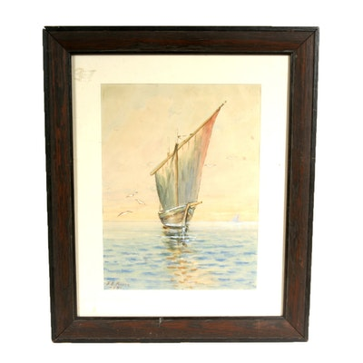 Signed, Original 1908 Watercolor by Indiana Artist F.E. Pearce
