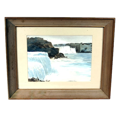 Signed, Original Watercolor of Niagra Falls by Listed Indiana Artist Louis William Bonsib