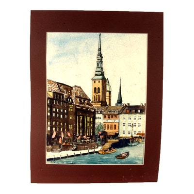 Signed Original Watercolor of a European City by Listed Indiana Artist Flora Burke
