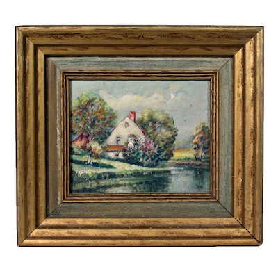 Original, Signed 1941 Oil on Board Painting by Listed Indiana Artist Glenn F. Bastian