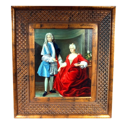 Framed Signed Oil on Canvas Double Portrait Painting