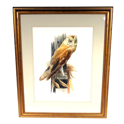 Signed, Original Watercolor of an Owl by Listed Artist Jo Polseno