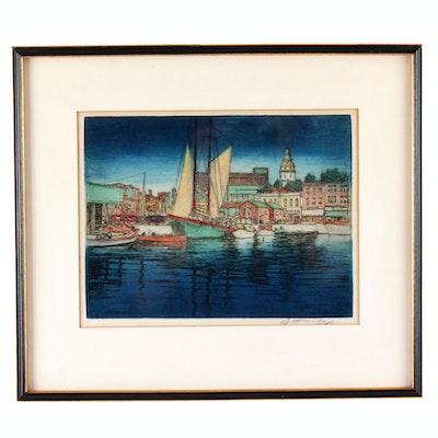 """E.T. Hurley Original Etching """"Annapolis Harbor"""""""