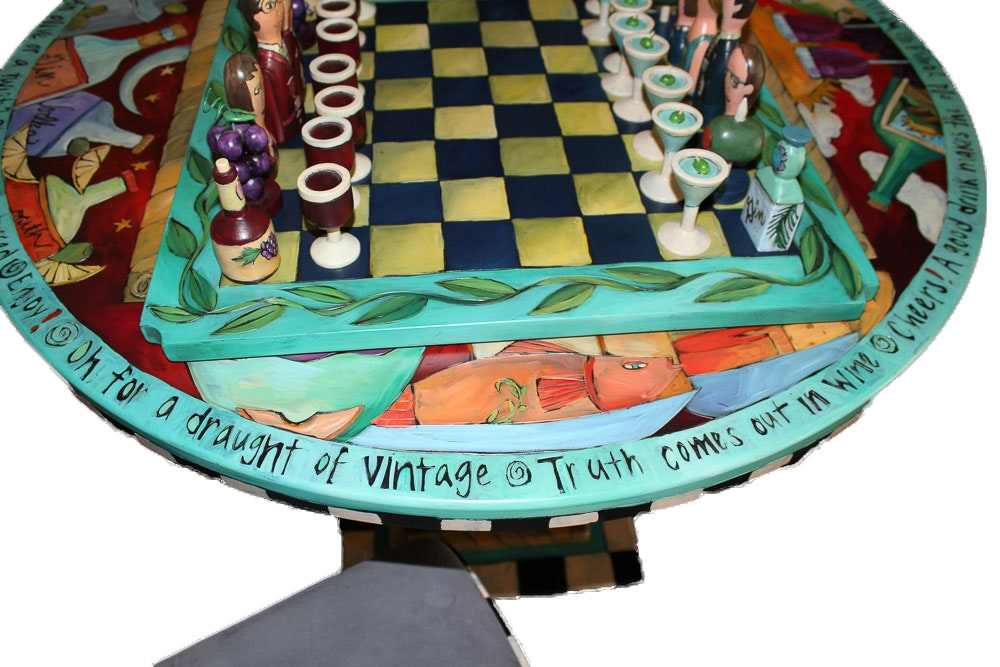 Sticks Painted Bistro Table With Chairs And Game Board ...