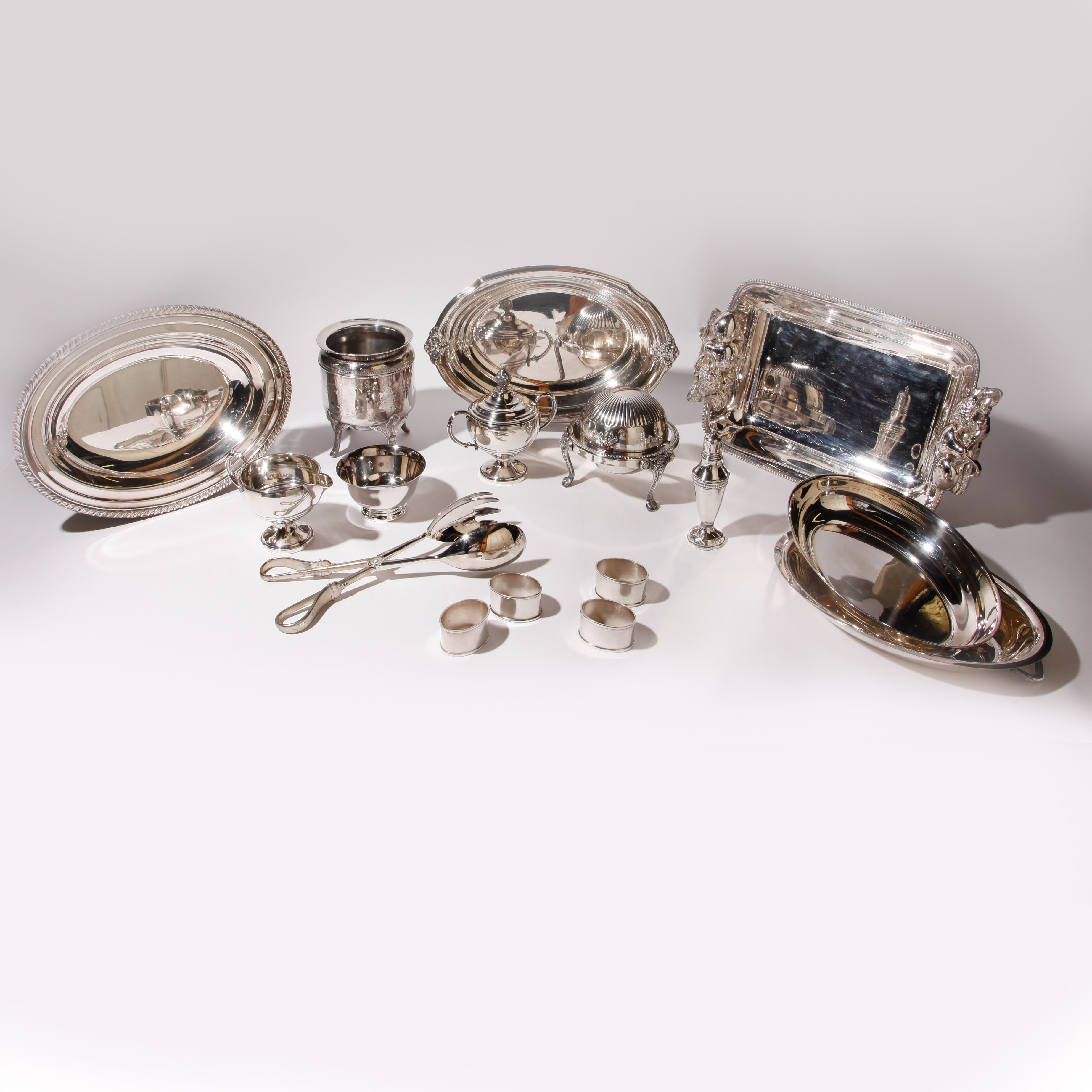 Collection of Weighted Sterling and Silver Plate Dishware