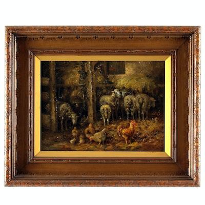 Charles Meurer 19th Century Barnyard Scene Oil Painting