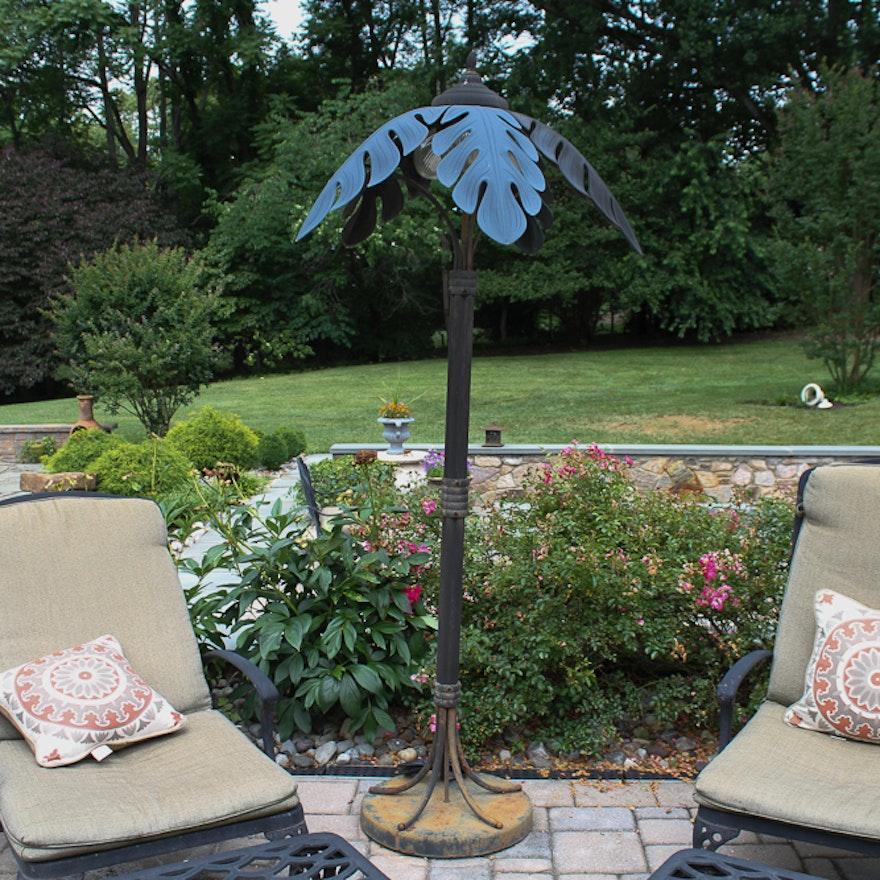 Metal Palm Tree Outdoor Floor Lamp Ebth