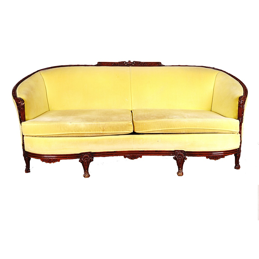 Hand Carved Neoclassical Style Cabriole Sofa With