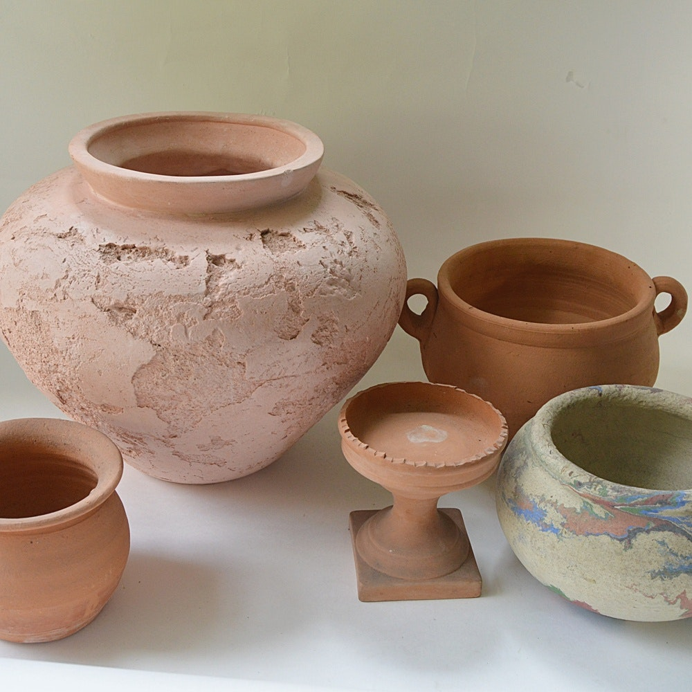 Five Vintage Pottery Jars and Pots with Agateware Pot