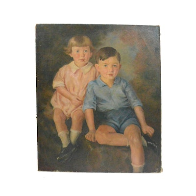 Original Signed Oil On Canvas Double Portrait By Listed Artist John Nielson