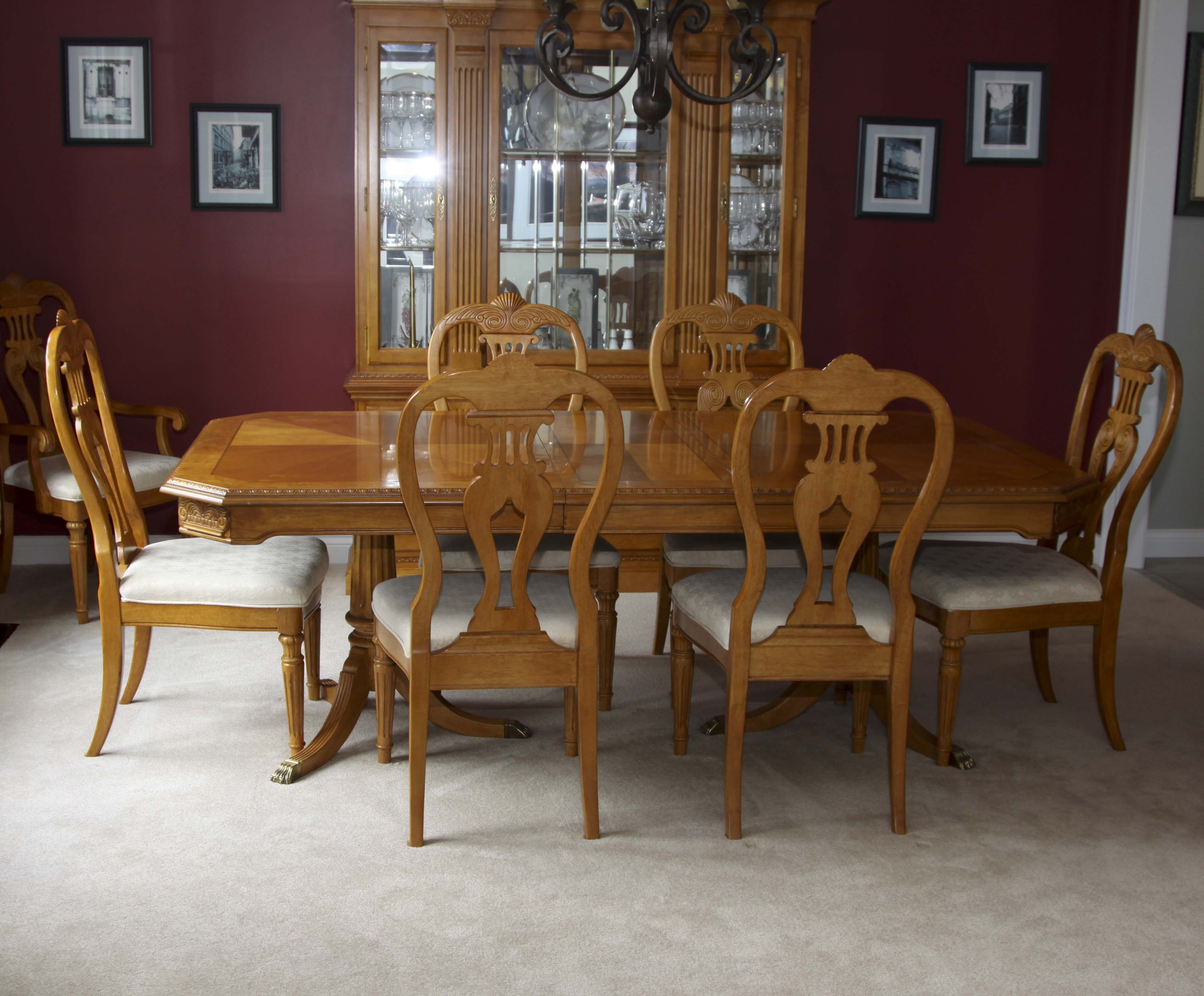 Elegant Olive Wood Dining Room Table And Eight Chairs ...
