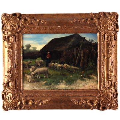 Charles Meurer 20th Century Oil Painting of Shepherdess and Sheep