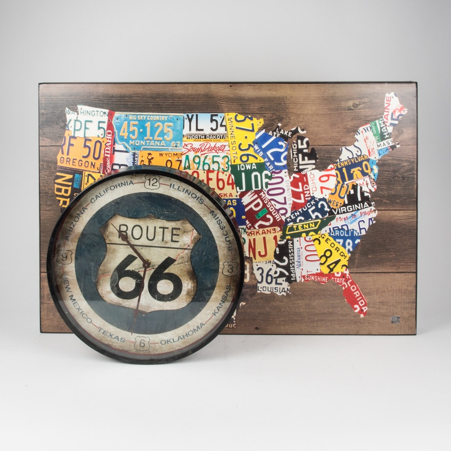License Plate United States Map.License Plate United States Map On Canvas And Route 66 Clock Ebth