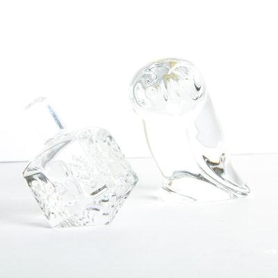 An Owl and Dreidel Cut Crystal