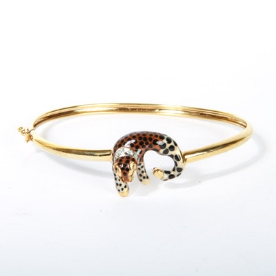 14K Yellow Gold and Diamond Enameled Cheetah Bangle