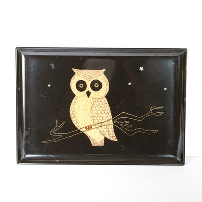 Vintage Couroc Resin Inlaid Owl Tray