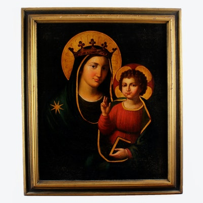19th Century Oil Painting on Linen Madonna and Child