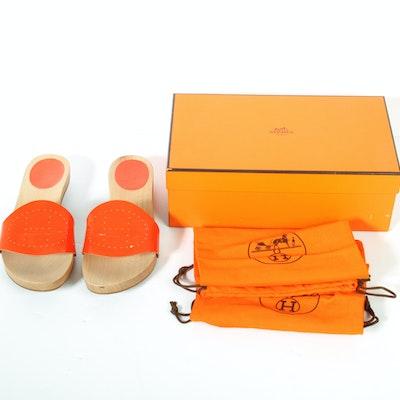 Women's Hermès Orange Patent Leather Clog Sandals