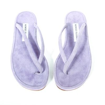 Manolo Blahnik Lavender Suede Flip Flops