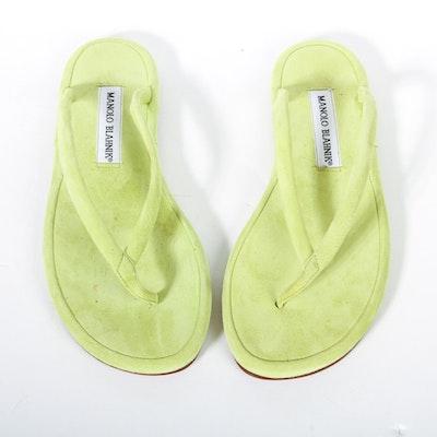 Manolo Blahnik Chartreuse Suede Flip Flops
