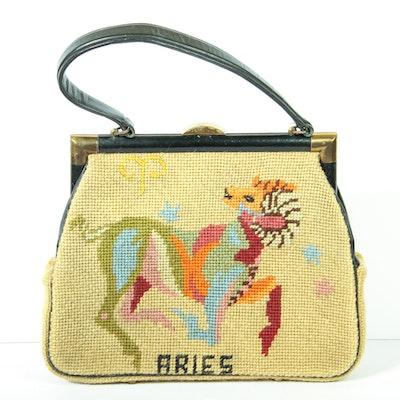 Vintage Aries Needlepoint Handbag