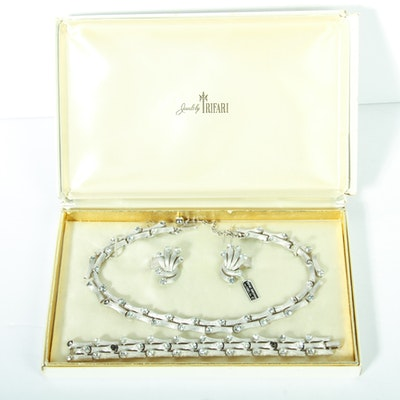 Vintage Trifari Necklace, Bracelet, and Earrings Parure Set