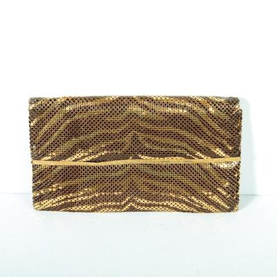 Whiting & Davis Co. Gold Tone Mesh Leopard Print