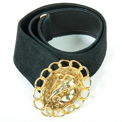 Vintage Miss Dior Black Suede Belt with Elephant Belt Buckle