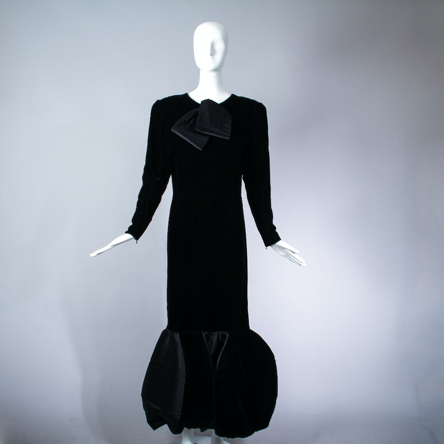 Vintage Givenchy Velvet Evening Gown with Architectural Hem : EBTH